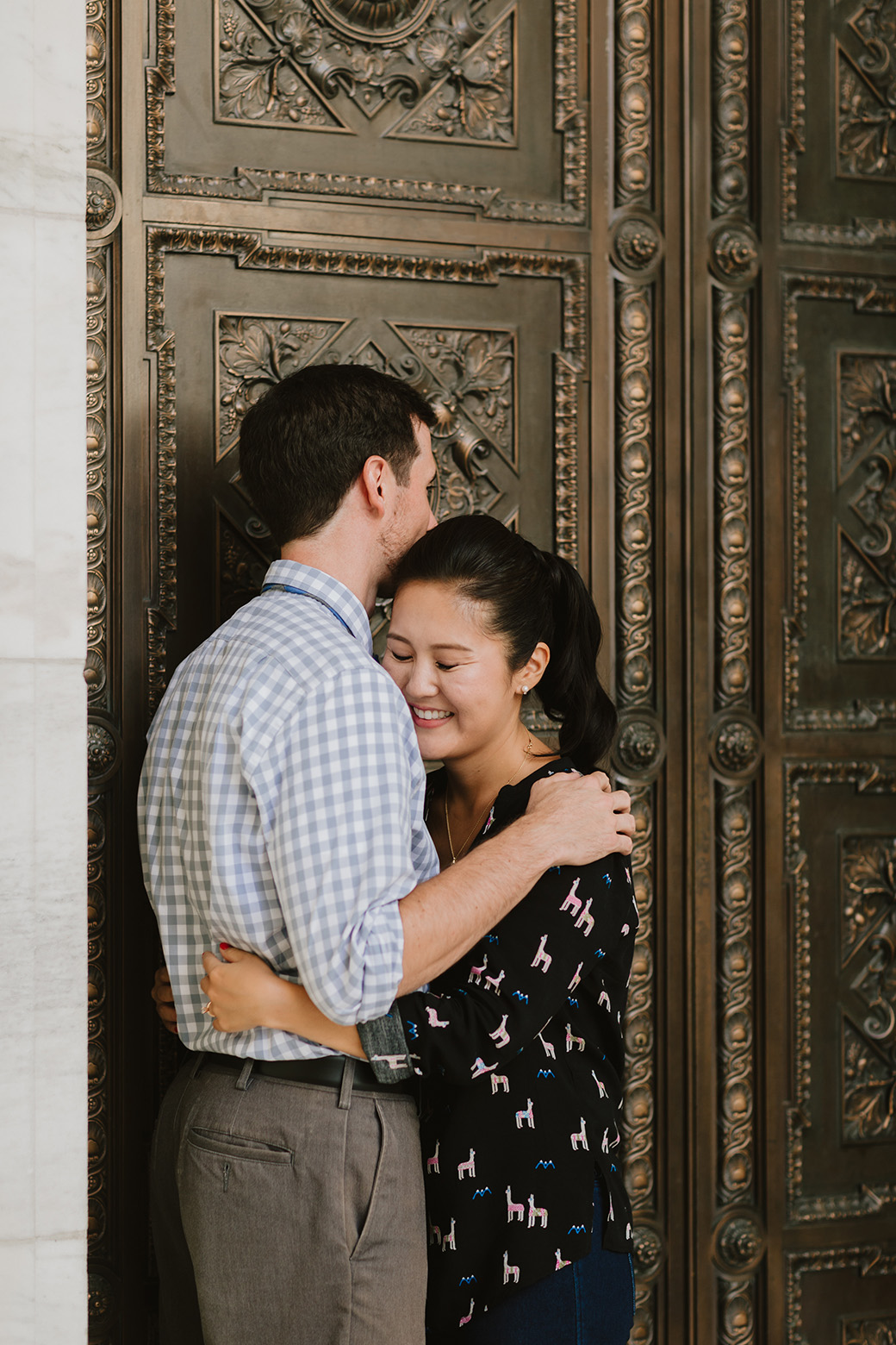 Engaged couple at NYPL