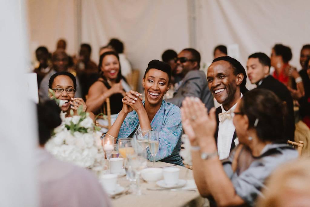 Wedding reception smiling