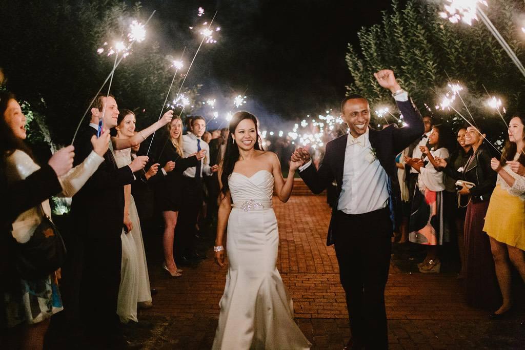 wedding sprinkler exit