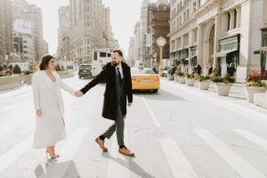 Flat iron wedding couple walking