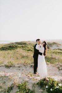 Montauk bride and groom on beach