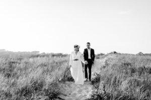 Montauk beach bride and groom