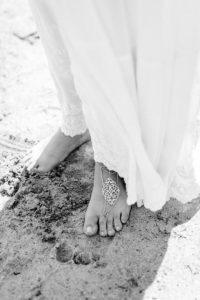 Montauk bride feet in sand