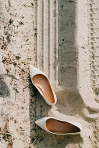 bride shoes in Montauk sand