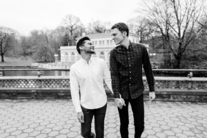 Two men engaged at Prospect Park Boathouse