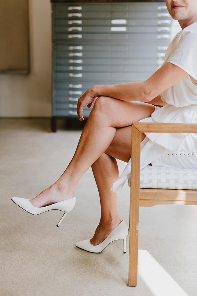 white wedding heels