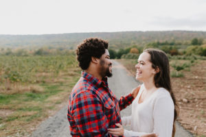Couple engaged in Connecticut Apple orchard
