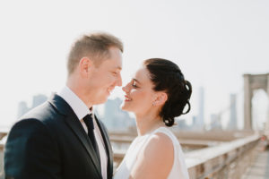 Brooklyn bridge wedding couple