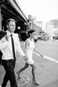 Wedding couple walking in NYC streets