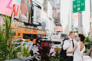 Times Square NYC wedding couple