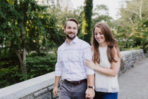 Central Park Manhattan engaged couple