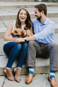 Central Park Manhattan engaged couple with dog
