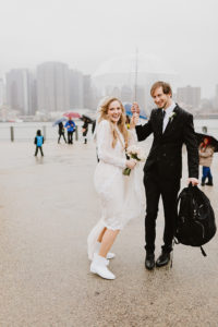 DUMBO rainy day wedding