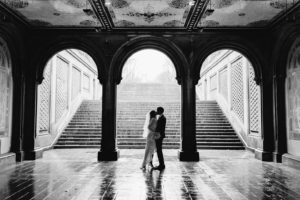 Bethesda fountain rainy day wedding