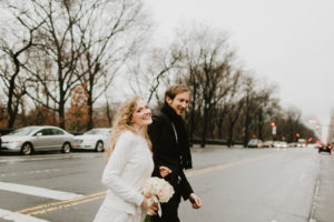 Rainy day central park wedding