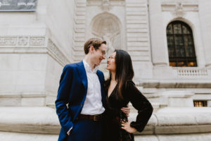 New York Public Library engaged couple
