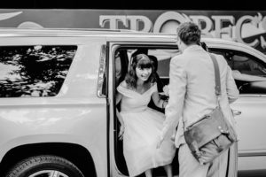 bride exiting her wedding car