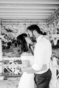 Ladies Pavilion central park wedding kiss