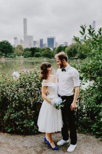 Central Park Wedding bride and groom skyline