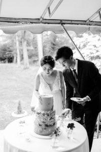 MIT Endicott House wedding cake cutting