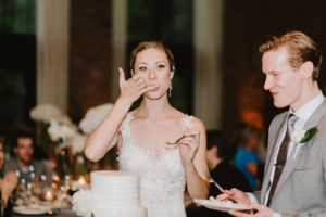 Roundhouse Beacon NYC bride eating cake