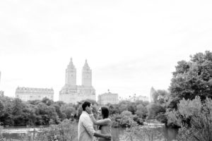 Central Park engaged couple