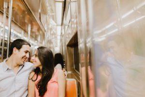 NYC Subway engagement couple